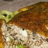 Фаршированная грудинка курицы с грибами, сыром, огурцом