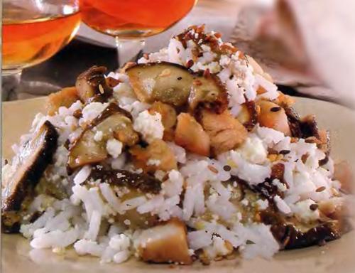 Рецепт салата с грибами и отварным рисом