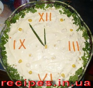 Салат в форме часов