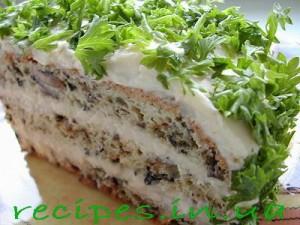 Торт с грибами и сыром