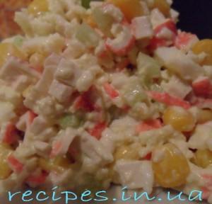Рецепт салата из крабовых палочек с огурцом