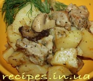 Рецепт тушёной картошки с мясом и грибами