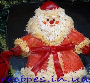 Рецепт новогоднего салата в форме Деда Мороза