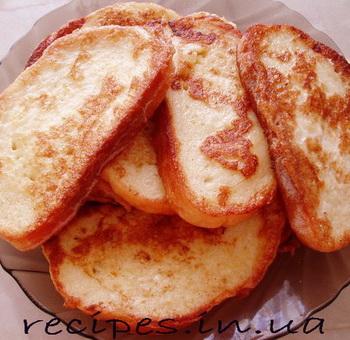 Рецепт гренков из хлеба с яйцом и молоком